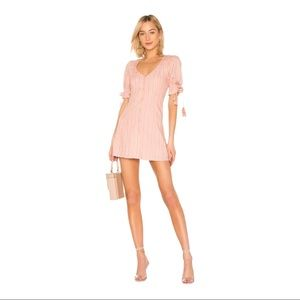 Tularosa Penny Pink Mini Dress Puffed Sleeves S